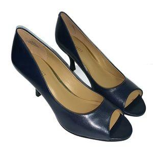 Nine West Quinty Open Peep Toe Navy Heels 8.5